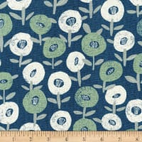 Kaufman Sevenberry Cotton Flax Prints Flowers Blue
