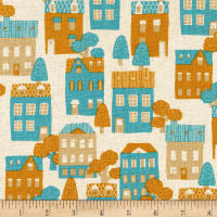 Kaufman Sevenberry Cotton Flax Prints Houses Natural
