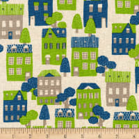 Kaufman Sevenberry Cotton Flax Prints Houses Blue