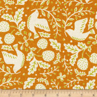 Kaufman Sevenberry Cotton Flax Prints Birds And Nuts Rust