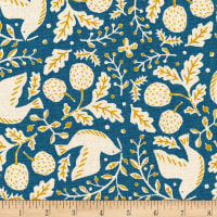 Kaufman Sevenberry Cotton Flax Prints Birds And Nuts Teal