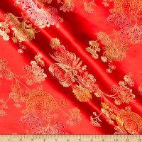Fabric Merchants Chinese Brocade Medallion on Flowers Red