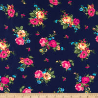 Fabric Merchants Wool Dobby Chiffon Mini Roses Navy/Fuschia