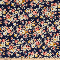 Fabric Merchants Rayon Challis Roses Navy/Taupe