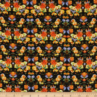 Fabric Merchants Rayon Challis Allover Floral Black/Yellow