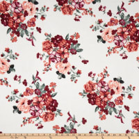 Fabric Merchants Hacci Stretch Knit Floral Ivory/Coral