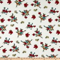Fabric Merchants Hacci Stretch Knit Floral Ivory/Red