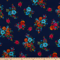 Fabric Merchants Hacci Stretch Knit Floral Navy/Fuchsia
