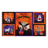 "Michael Miller Howl-O-Ween Muttsqarade 24"" Panel Orange"