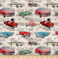 Michael Miller MG Collection British Motor Cars MG Patchwork Taupe