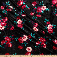 Fabric Merchants Stretch Velvet Rose Bouquet Black/Fuschia