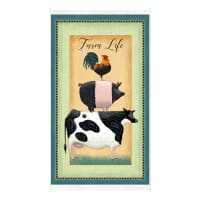 "QT Fabrics Digital Down On The Farm Farm Life 24"" Panel Light Green"