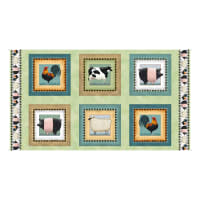 """QT Fabrics Down On The Animal Picture Patches 36"""" Panel Light Green"""