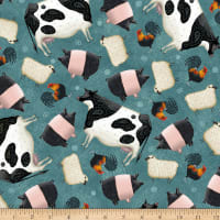 QT Fabrics Digital Down On The Farm Tossed Farm Animals Teal