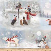 QT Fabrics Digital Woodland Buddies Scenic Gray