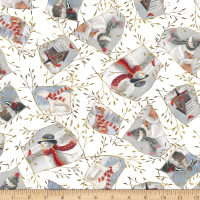 QT Fabrics Digital Woodland Buddies Patches White
