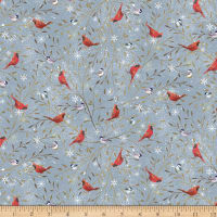 QT Fabrics Digital Woodland Buddies Cardinals Dark Gray