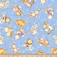 QT Fabrics Digital Lullaby Tossed Baby Animals Blue