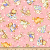 QT Fabrics Digital Lullaby Tossed Baby Animals Pink