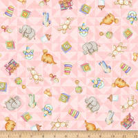 QT Fabrics Digital Lullaby Tossed Toys Pink