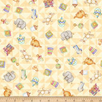 QT Fabrics Digital Lullaby Tossed Toys Buttercup