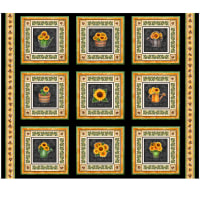 "QT Fabrics Digital Always Face Sunshine 36"" Blocks Panel Black"
