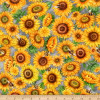 QT Fabrics Digital Always Face Sunshine Packed Sunflowers Gray