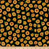QT Fabrics Digital Always Face Sunshine Tossed Sunflowers Black