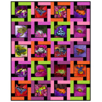 "QT Fabrics Digital Artworks XVII Frogs 46""x57"" Quilt Kit Pink"