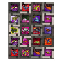 "QT Fabrics Digital Artworks XVII Frogs 46""x57"" Quilt Kit Gray"