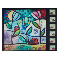 "QT Fabrics Painterly Garden Picture Patch 36"" Panel Black"