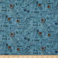 Henry Glass Flannel Folk Art Flannels 4 Mixed Media Wander Navy