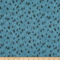 Henry Glass Flannel Folk Art Flannels 4 Mini Trees Blue