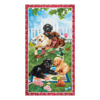 "Henry Glass Pups In The Garden Puppy 24"" Panel Red"