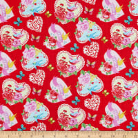 Henry Glass Heart & Soul Tossed Large Hearts Allover Red