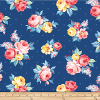 Michael Miller Fabrics Country Cottage Local Blooms Blue