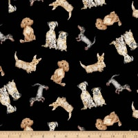 Michael Miller Fabrics Paws Up! Dog Friendly Black