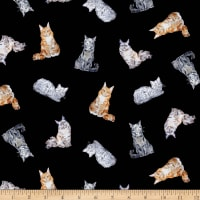 Michael Miller Fabrics Paws Up! Crafty Cats Black