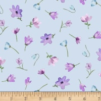 Michael Miller Fabrics Dreaming of Tuscany Watercolor Flowers Blue