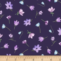 Michael Miller Fabrics Dreaming of Tuscany Watercolor Flowers Purple