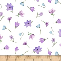 Michael Miller Fabrics Dreaming of Tuscany Watercolor Flowers White