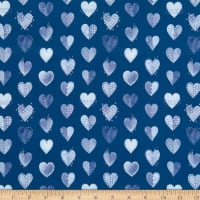Marketa Stengl Double Brushed Stretch Poly Jersey Knit My Boro Heart Navy/White