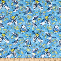Marketa Stengl Double Brushed Stretch Poly Jersey Knit Flying Birds and Oak Leaves Blue/Yellow