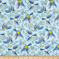 Fabric Merchants Marketa Stengl Double Brushed Stretch Poly Jersey Knit Flying Birds and Oak Leaves Yellow/Blue
