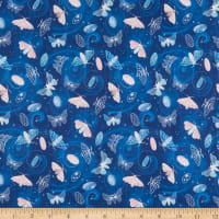 Fabric Merchants Marketa Stengl Double Brushed Stretch Poly Jersey Knit Silky Way Silk Moth Galaxy Blue/Pink