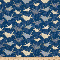 Marketa Stengl Double Brushed Stretch Poly Jersey Knit Japanese Origami Paper Crane and Cherry Blossom Blue/Gold