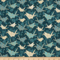 Marketa Stengl Double Brushed Stretch Poly Jersey Knit Japanese Origami Paper Crane and Cherry Blossom Green/Gold