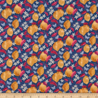 Fabric Merchants Marketa Stengl Double Brushed Stretch Poly Jersey Knit Lemons Pattern with Flowers and Butterflies Blue/Gold