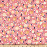 Fabric Merchants Marketa Stengl Double Brushed Stretch Poly Jersey Knit Lemons and Flowers Pink/Gold