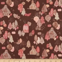 Fabric Merchants Marketa Stengl Double Brushed Stretch Poly Jersey Knit Hansel and Gretel Holiday Print Brown
